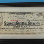 Savage Gold & Silver Mining Co. San Francisco 1000 Share Stock Certificate - Framed