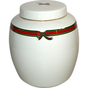 Royal Doulton Ginger Jar White in Red/Green Ribbon Pattern, 1988 English Porcelain