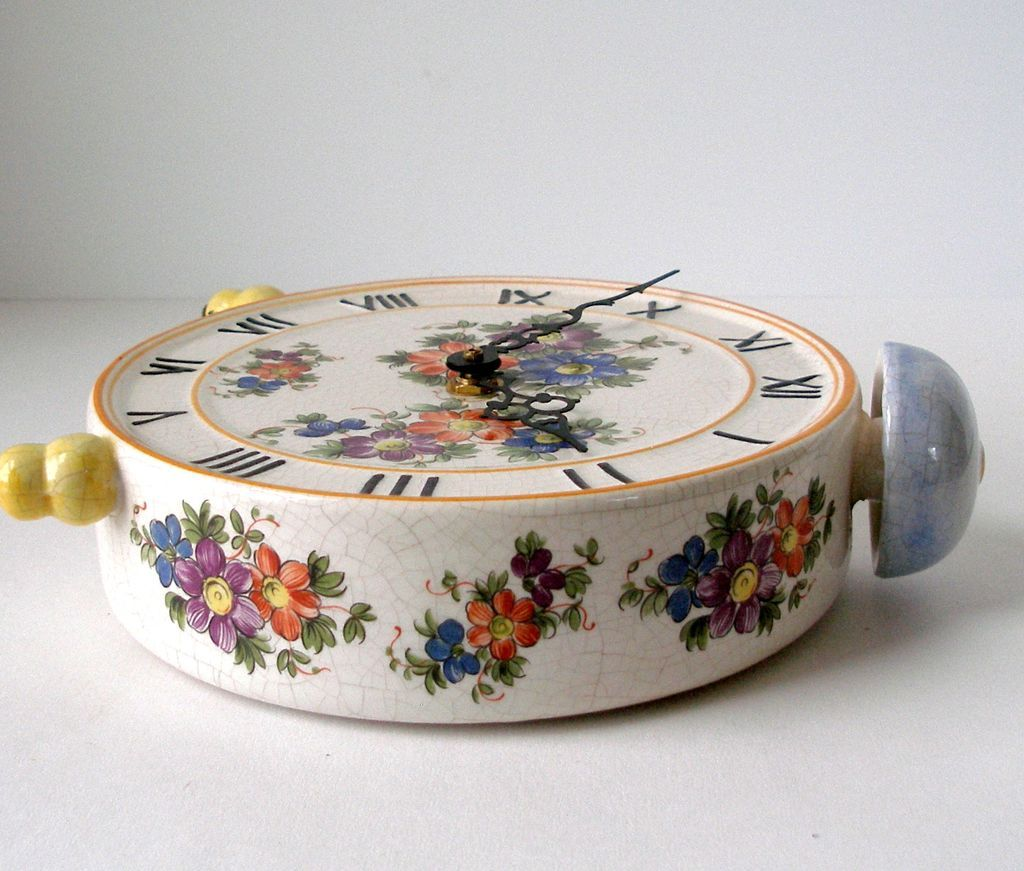 Mantle/ Shelf Clock Multi Color Flowers Faux Bell Top Design Italy ...