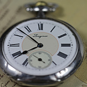 Longines 1912 Sterling Silver 5 Grand Prix Pocket Watch