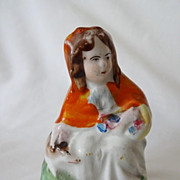 Antique Staffordshire Figurine: Red Riding Hood - 19th C Ex-Collection