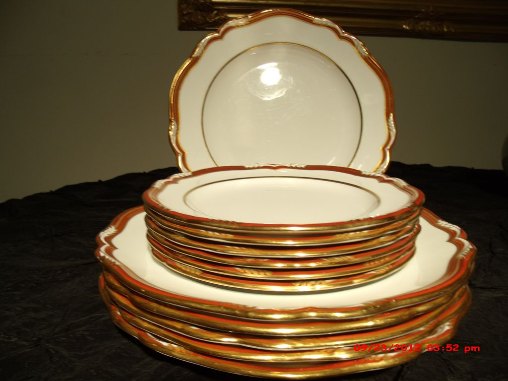 Spode Bone China Plates (Chancellor) White, Autumnal Orange and Gold