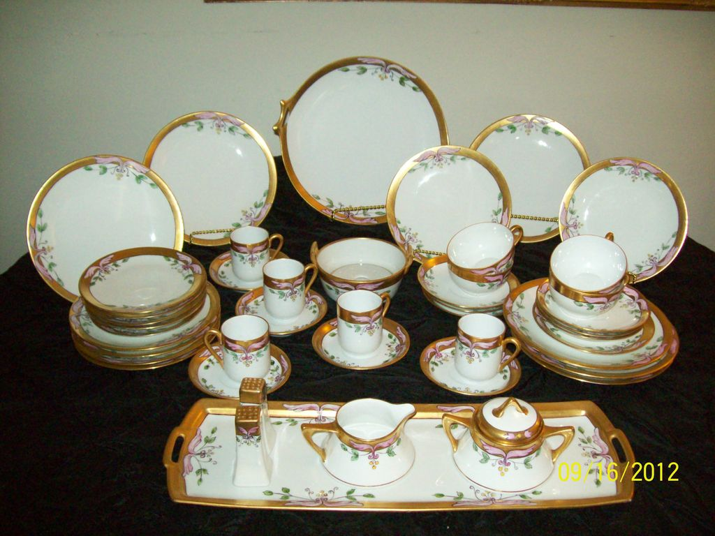 19 Century Bavarian, Royal Austria Hand Painted Luncheon Set (44 Pieces)