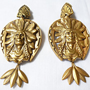 Large Joseff of Hollywood INDIAN CHIEF CLIP Earrings