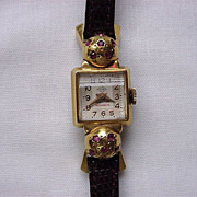 Beautiful FRENCH ART DECO watch~~18k w/rubies-&quot;HB&quot; mark curved domed crystal