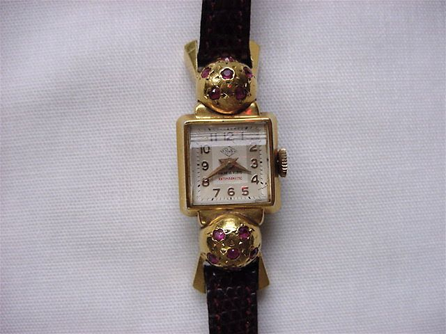 "Beautiful FRENCH ART DECO watch~~18k w/rubies-""HB"" mark curved domed crystal"