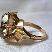 Vintage Modernist Mod Abstract 14k gold RING HUGE SMOKY smokey TOPAZ QUARTZ-7.5 ct