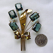 large Vintage 1940S Sterling vermeil floral bouquet brooch blue/green glass
