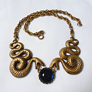 Joseff Of Hollywood Snake/Serpent Necklace With Blue Cabochon