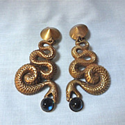 Joseff Of Hollywood Snake/Serpent Clip Earrings with Blue Cabochons