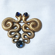 Joseff Of Hollywood Double Snake/Serpent Brooch with Blue Cabochons