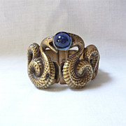 Joseff Of Hollywood Double Snake/Serpent Cuff Bracelet With Blue Cabochon