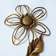 vintage Joseff large Open Wire Daisy Flower Brooch