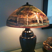 SOLD Handel Lamp. Reverse painted scenic lamp number 7118A