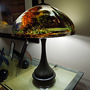 3 - Handel Lamp. Reverse painted 18 inch