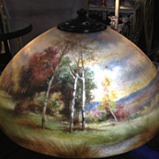 43 - Handel Enameled Painted Scenic Lamp