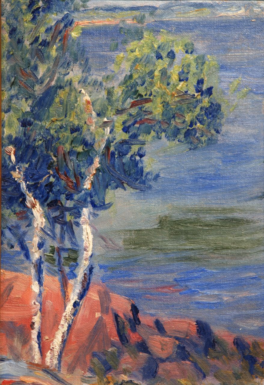 "American Impressionist oil, ""Tree by the Coast"""