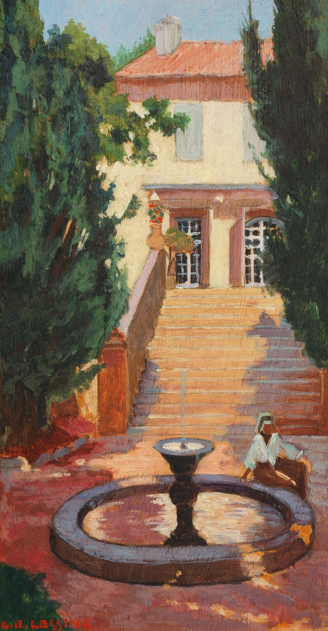 C.E. Lessing, &quot;In the Garden Courtyard&quot; oil painting