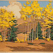 """Aspen and Spruce"" color silkscreen by New Mexico artist Norma Bassett Hall (America"