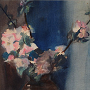 "Unsigned turn of the century American watercolor, ""Apple Blossoms"""