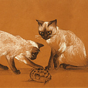 "Agnes Tait (American, 1891-1981) mixed media work of two Siamese cats, ""Mischief, August"