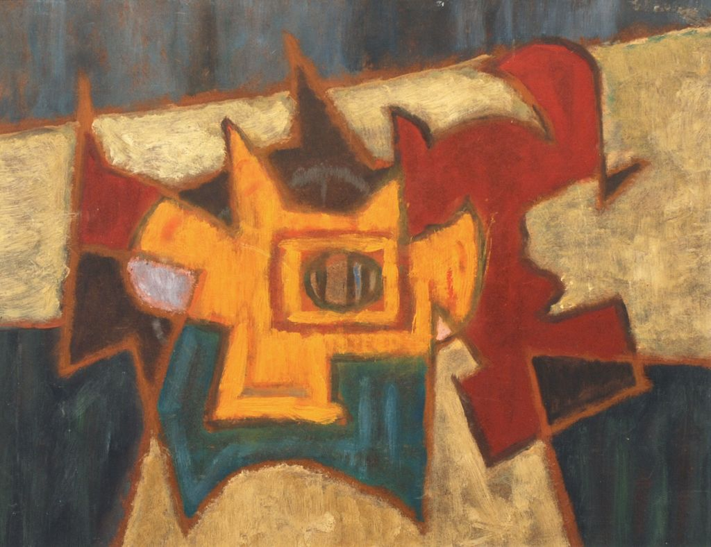American Modernist abstract oil on board