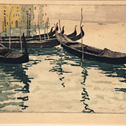 """Gondolas on the Canal, Venice,"" color aquatint by Austrian artist Han Figura (1898-"