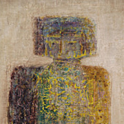 Latin American, Indistinctly signed oil on board of figures. Dated 1961.