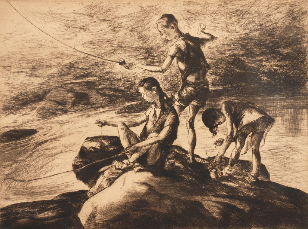 "John Edward Costigan (1888-1972), ""Fishermen Three,"" etching"