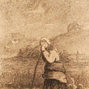 "Charles Franklin Pierce (American, 1844-1920), ""Peasant Girl and Geese"""