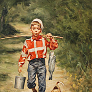 "Oil on canvas, ""Boy Fishing"" by Wilson Ellsworth (American, 1908-1972)"
