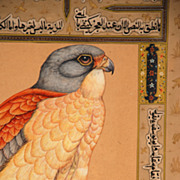 Persian 18th/19th century watercolor and ink of a Peregrine Falcon
