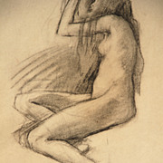 "Lee Woodward Zeigler (American, 1868-1952), charcoal drawing, ""Seated Nude"""