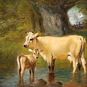 Unsigned American, c. 1880s, oil on board of Cow and Calf at Watering Hole