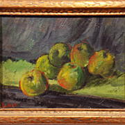 American Modernist Still Life of Apples, possibly signed, c. 1940s