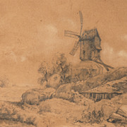"Pencil Drawing of Landscape with Windmill, Signed ""Barry"""