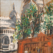 Monogrammed oil on paper of Sacre Coeur, Paris, c. 1940s to 50s