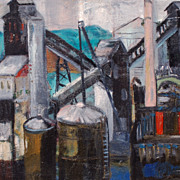 Spencer Douglas Crockwell (American, 1904-1968), Industrial Landscape oil on canvasboard