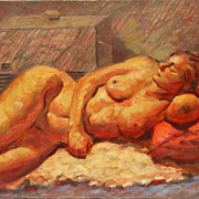 20th century Reclining Nude oil on board