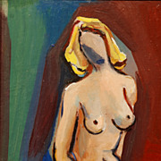 Indistinctly Signed Paris Modernist Seated Nude Oil Painting