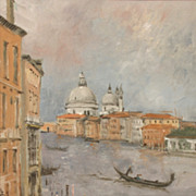 "Paul Gunn (American, 1922-2001), ""Santa Maria della Saluate, Venice,"" oil on board"