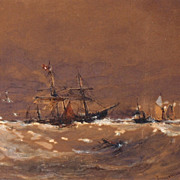 "Thomas Bush Hardy (British, 1842 � 1897), ""Towing a Wreck,"" watercolor and gouache p"