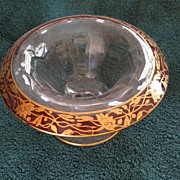 Vintage glass and hand painted compote