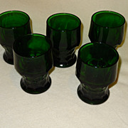 Anchor Hocking Forest Green Georgian 5 tumblers
