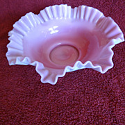 Cranberry glass and milk glass bowl