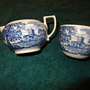 Wedgwood Queen's Ware Romantic England creamer and open sugar