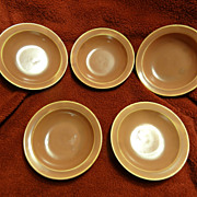 Homer Laughlin Wells Art Glaze rose peach five fruit bowls