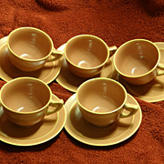 Homer Laughlin Wells Art Glaze rose peach five cup and saucer sets