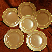 Homer Laughlin Wells Art Glaze rose peach 6 bread and butter plates
