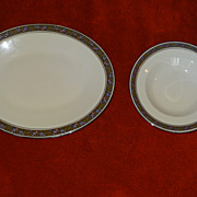 Franciscan Constantine oval platter and rim soup bowl